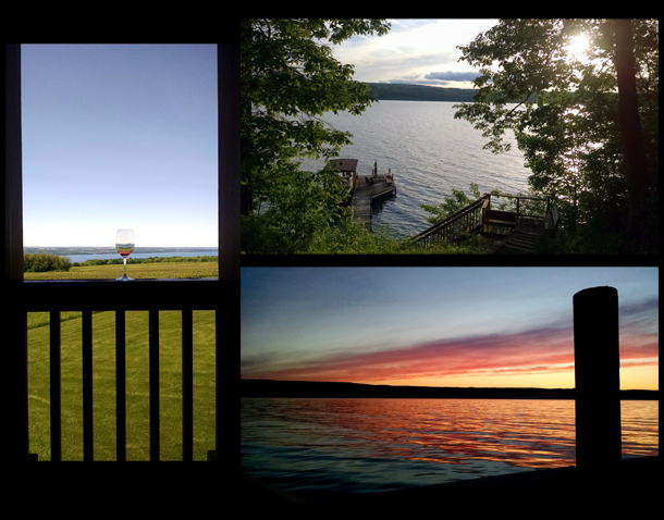 The view from Lamoreaux Landing, the view from our rental, and sunset on Seneca Lake