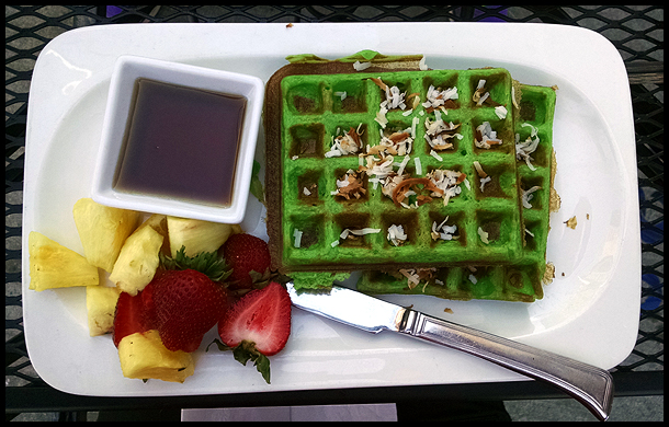 Coconut waffles - I was not expecting them to be green.